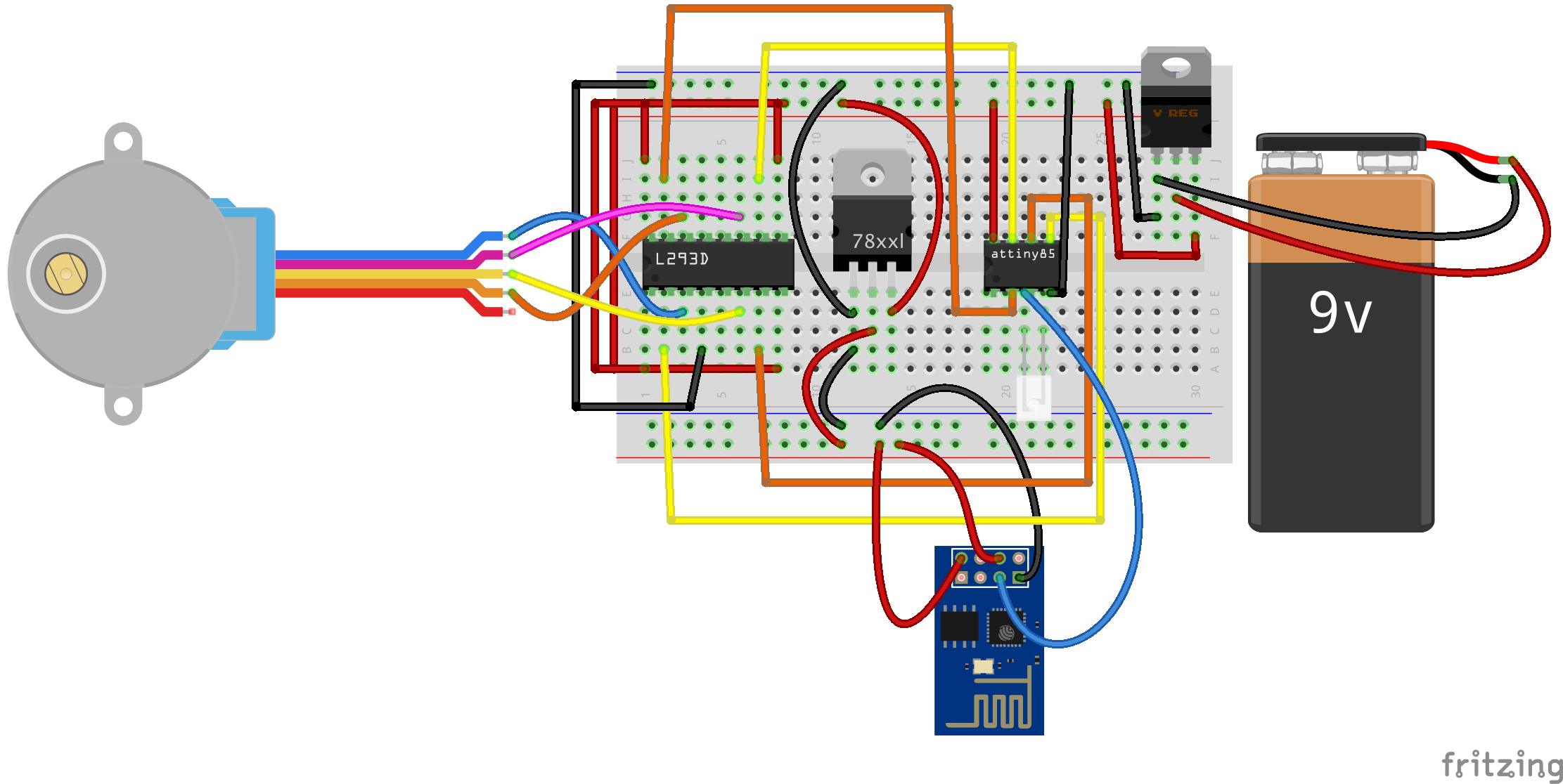 Esp8266 Motor on 12v to 5v circuit diagram